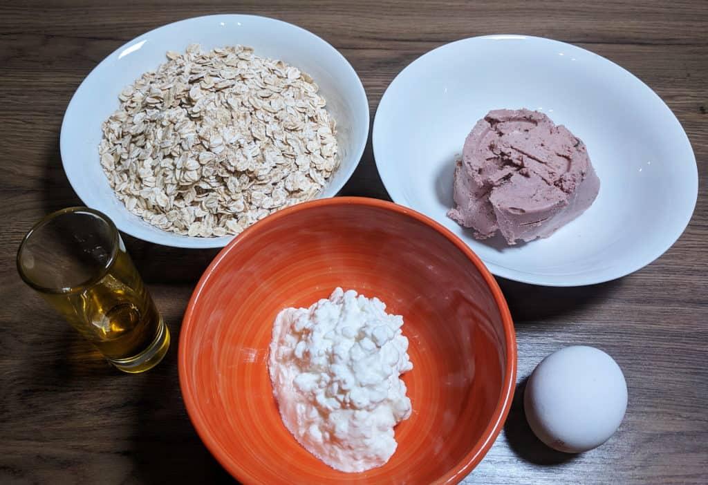 Leberwurst, Haferflocken, Körniger Frischkäse, Ei, Öl