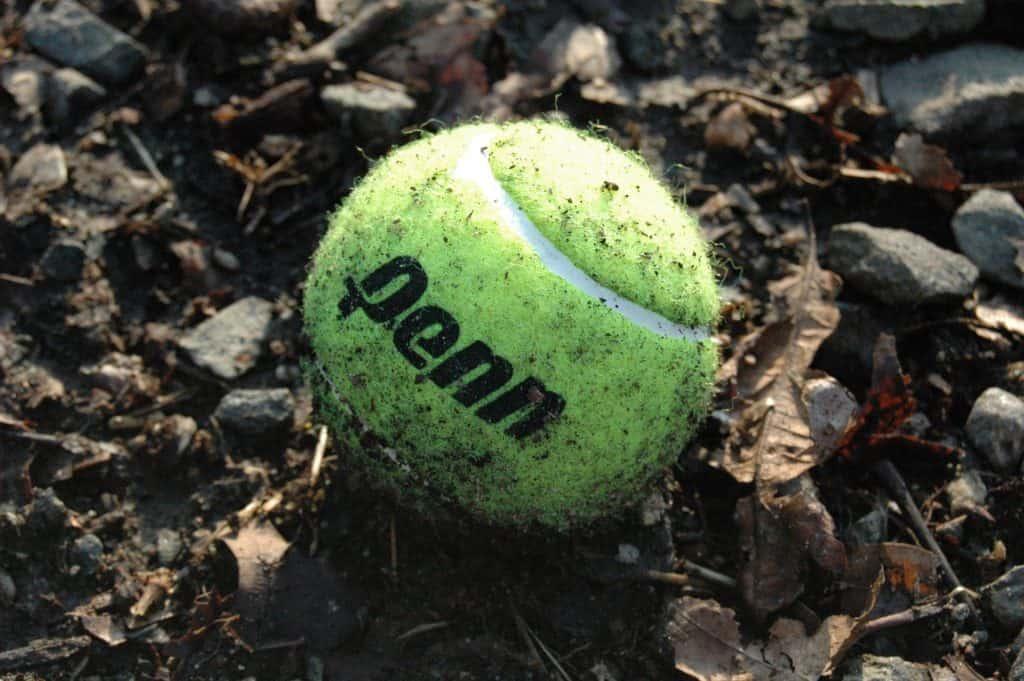 Ein verschmutzter Tennisball schleift die Zähne ab