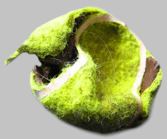 Zerknautscht oder zerlegt kann der Tennisball leichter verschluckt werden
