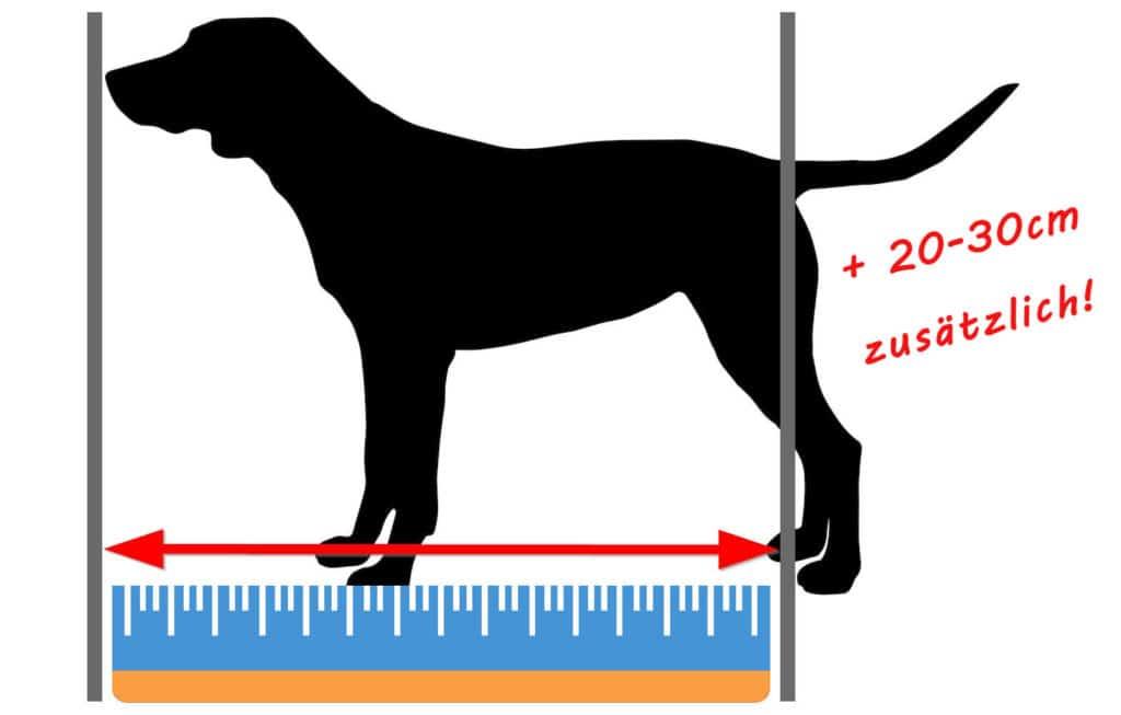 Hundebett Länge messen: Von der Nasenspitze bis zum Schwanzansatz + 20-30cm zusätzlich